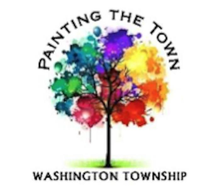 "colorful tree with the words ""Painting the Town"" and ""Washington Township"" around it."