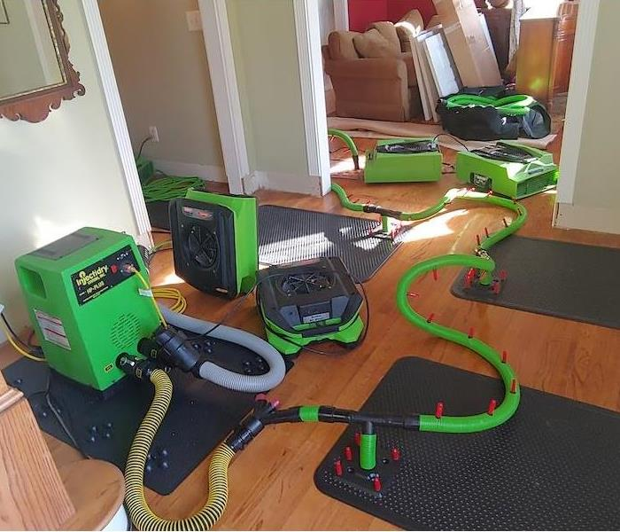 Drying mats and green equipment on a wood floor